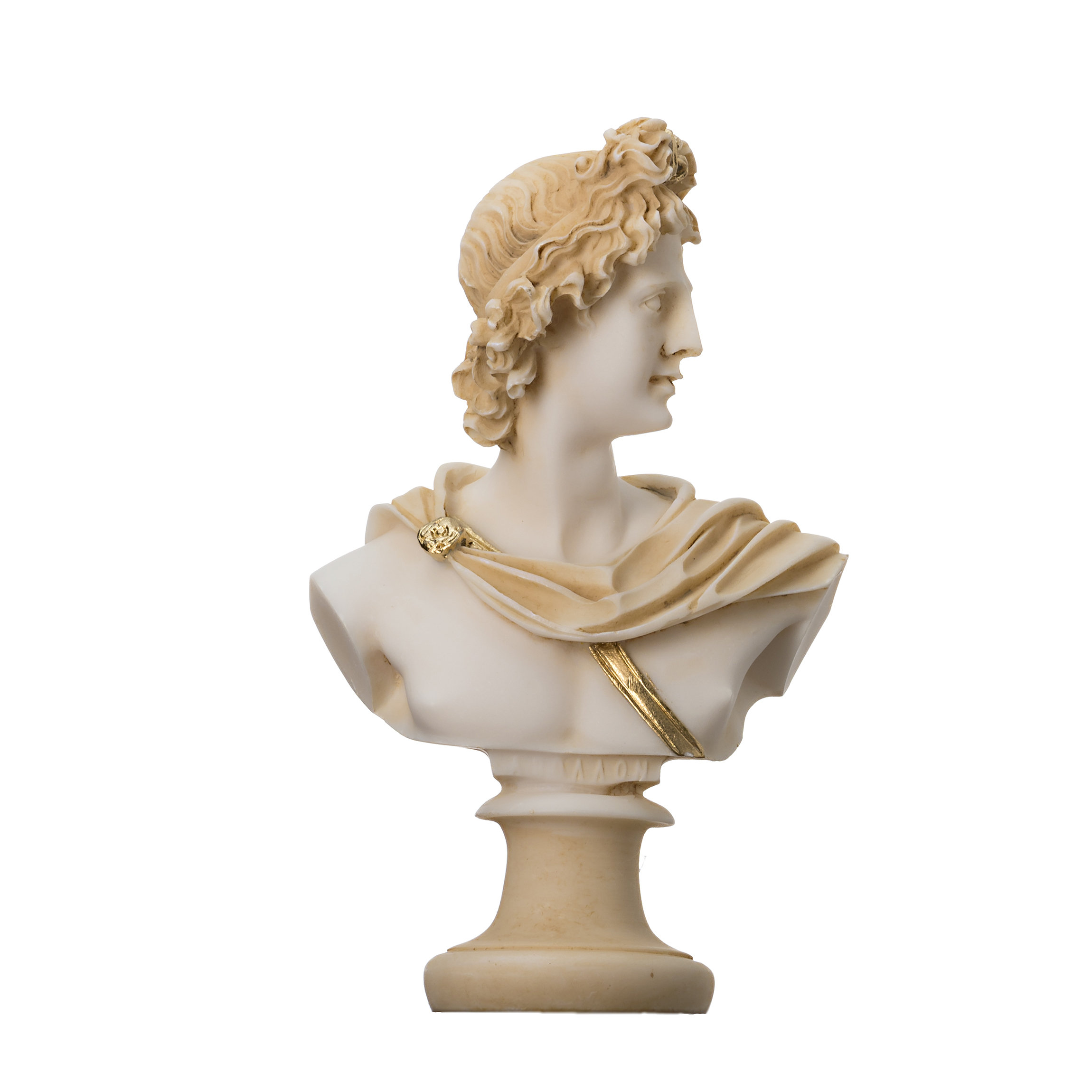 """Apollo God Of Music Poetry Art Gold Tone Alabaster Bust Statue Sculpture 5.9"""""""