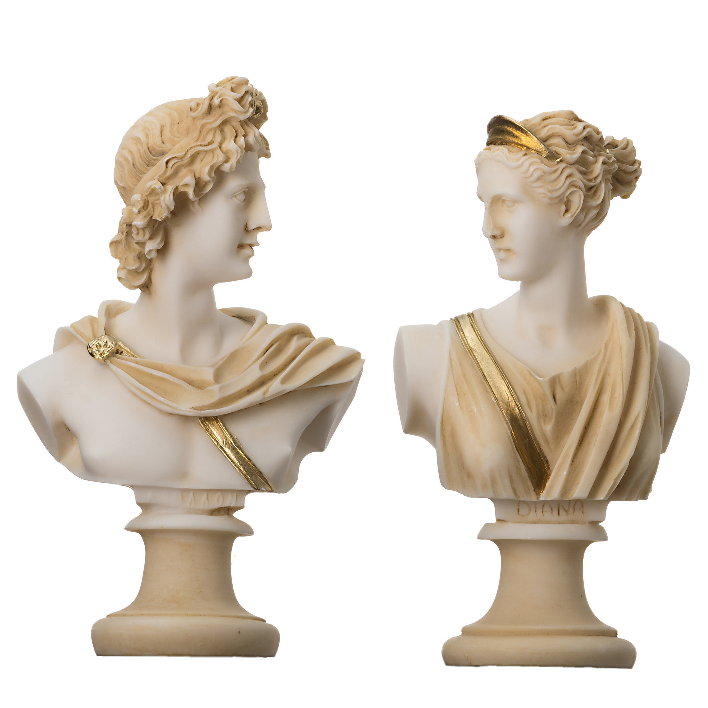 Artemis Diana  and Apollo Bust Greek Statues Figurine Gods Gold Tone  5.9''
