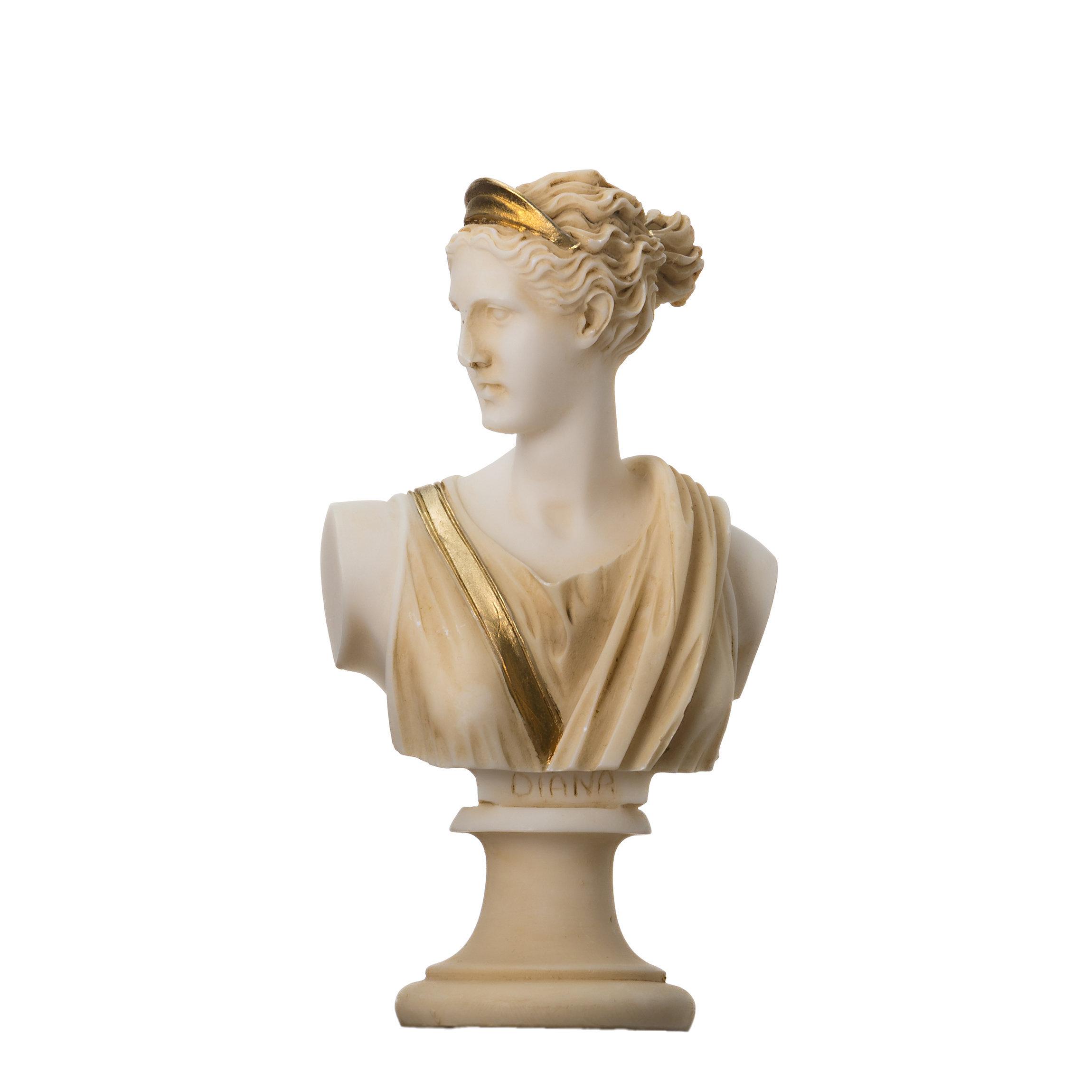 Artemis Diana Bust Greek Statue Nature Moon Goddess Gold Tone 5.9''