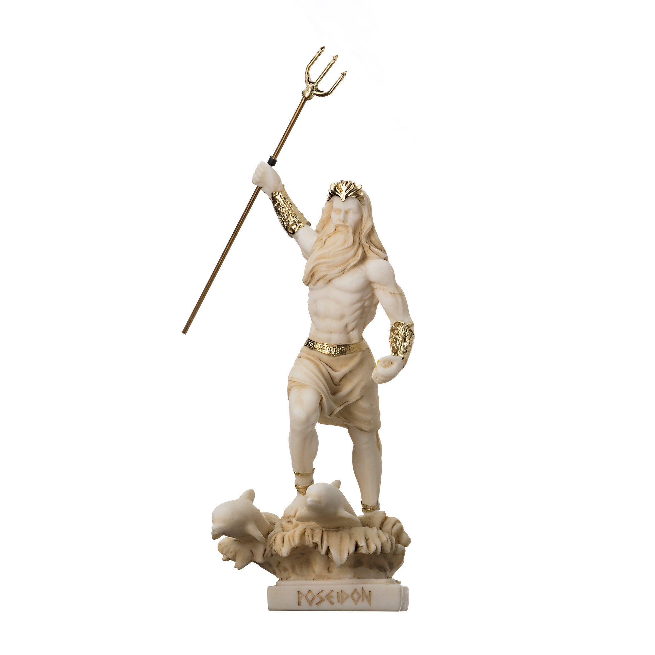 """Poseidon Greek God of the Sea With Trident Statue Figurine Gold Alabaster 6.5"""""""