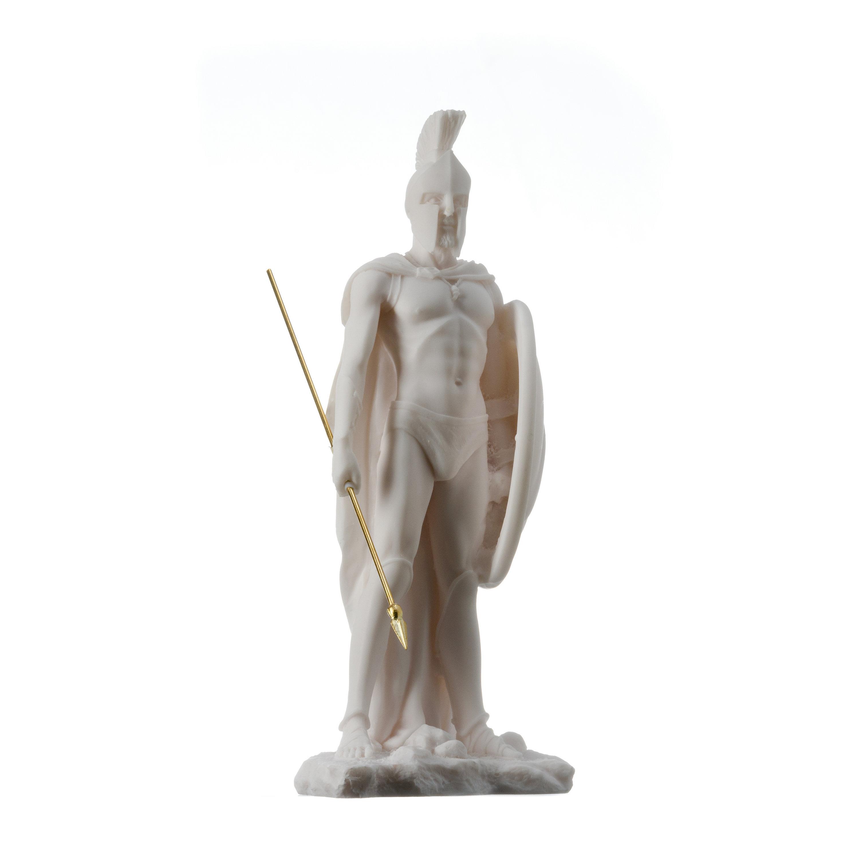 "LEONIDAS Statue Greek Spartan King Sculpture Figure Alabaster 9"" / 23cm F/Ship"