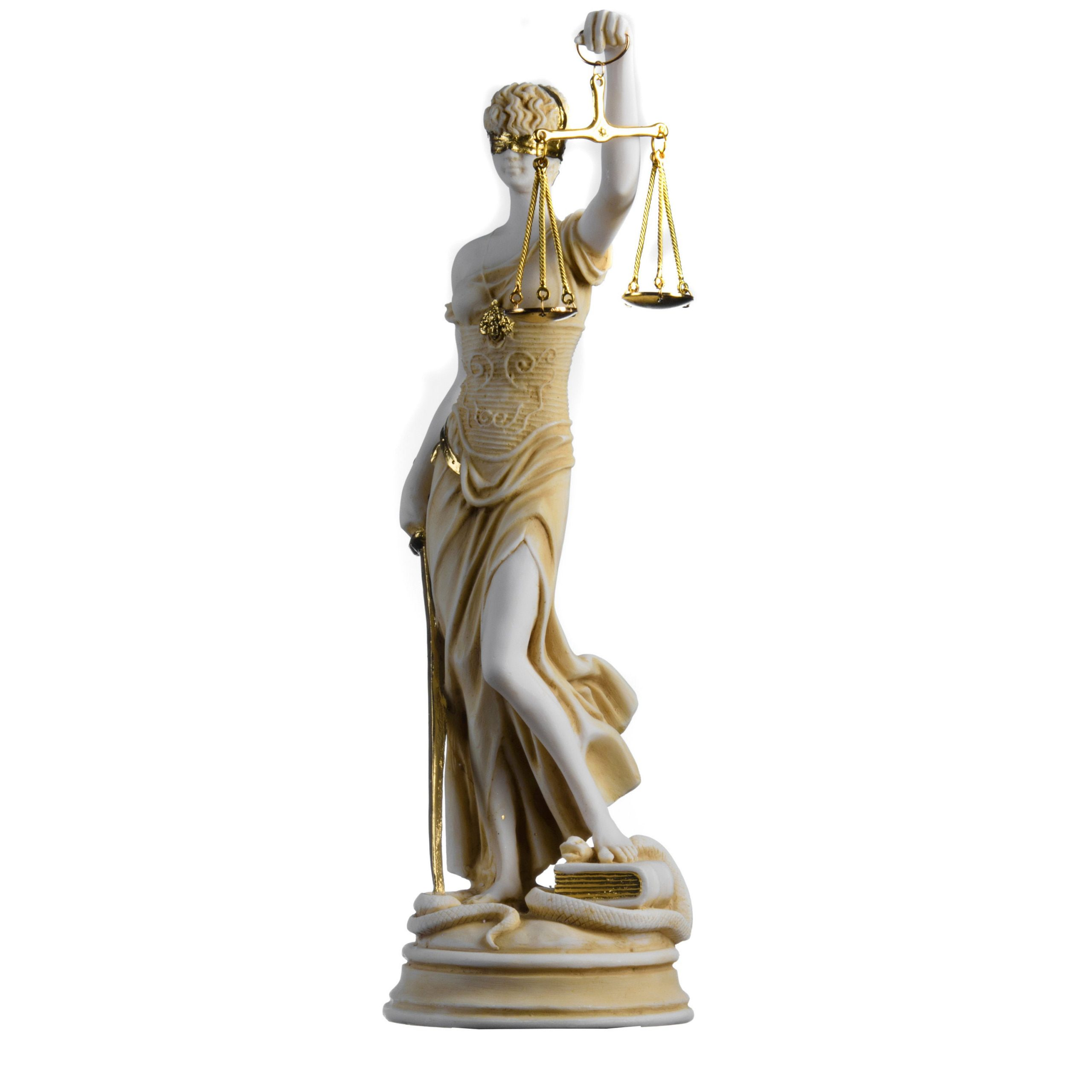 Greek Goddess Themis Statue Gold Colour Blind Lady Justice Sculpture Lawyer Gift 13.97''