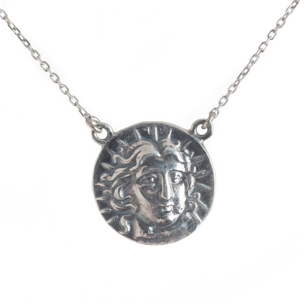 Ancient Greek Coin God Sun Pendant Necklace 4 drachma Rhodes Coin Sterling Silver 925 With Chain 17 inch