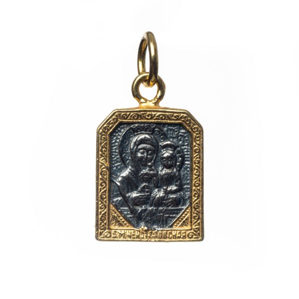 Saint Mary Mother with Jesus Pendant Silver Sterling 925 Gold 0.59 inches