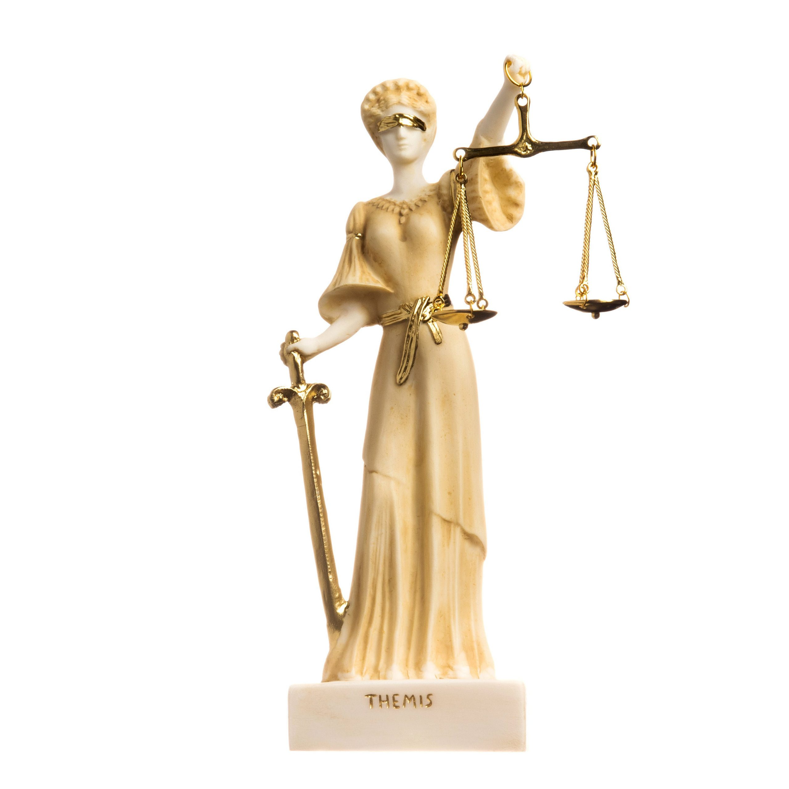 """Greek Goddess Themis Statue Blind Lady Justice Handmade Lawyer Gift Gold Finish 9.8"""" ( 25cm)"""