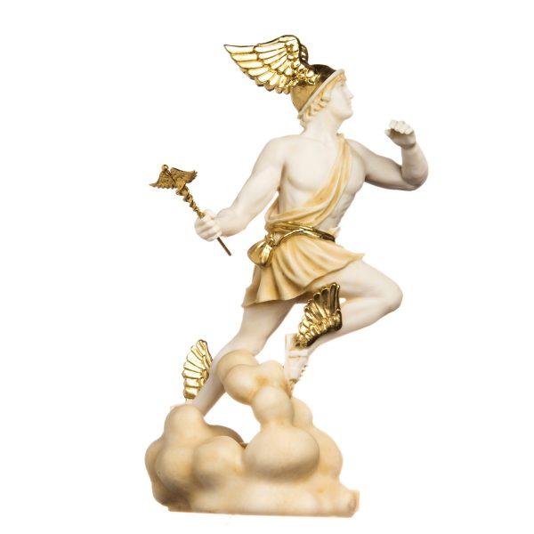 Hermes Mercury God Zeus Son Roman Statue Alabaster Gold Tone 13″