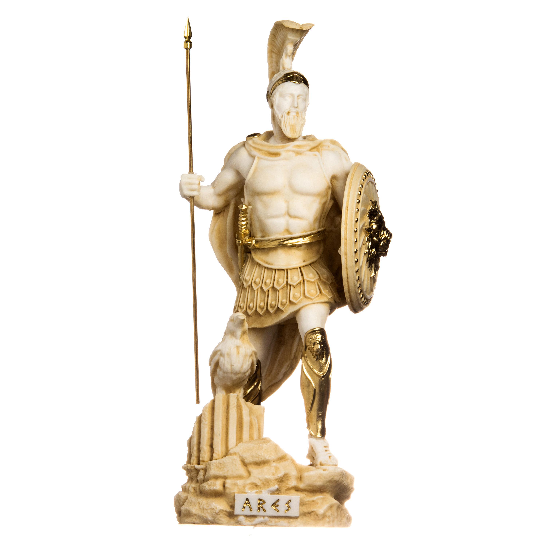 Ares Mars God of War Zeus Son Roman Statue Alabaster Gold Tone 14.56inch