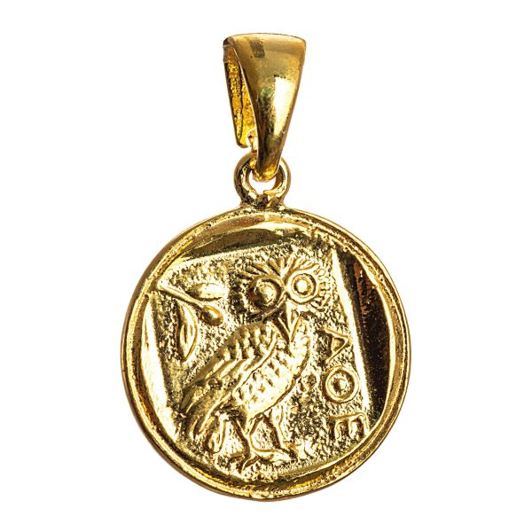 Owl of Athena Wisdom Gold Plated Pendant Small Replica Greek Coin Mythology Rustic