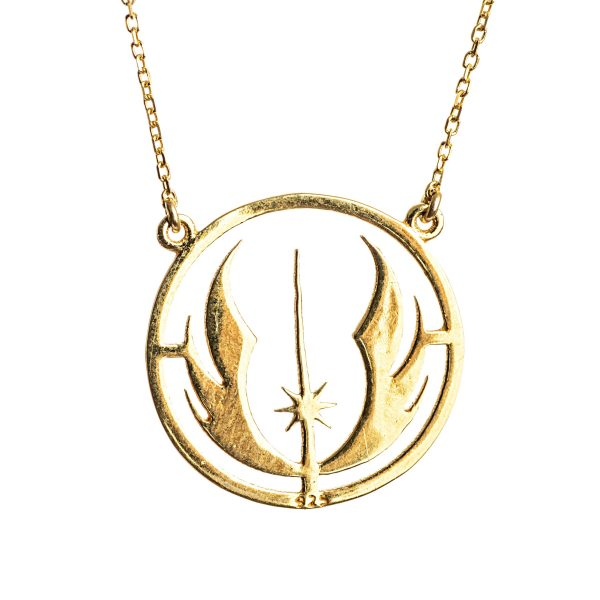 Star Wars Necklace Jedi Pendant Mens Necklace Gold Plated Silver Sterling 925