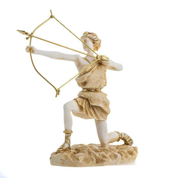 Goddess Artemis Diana Greek Statue Nature Moon Gold Tone Alabaster 9.25″