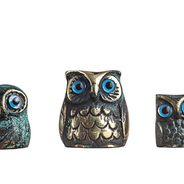 Set of 3 Owl of Athens Wisdom Solid Bronze Greek Green-Gold Handmade Miniature