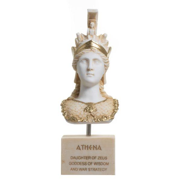 Athena Athene Goddess Of Wisdom Alabaster Sculpture Statue Bust 10.8″