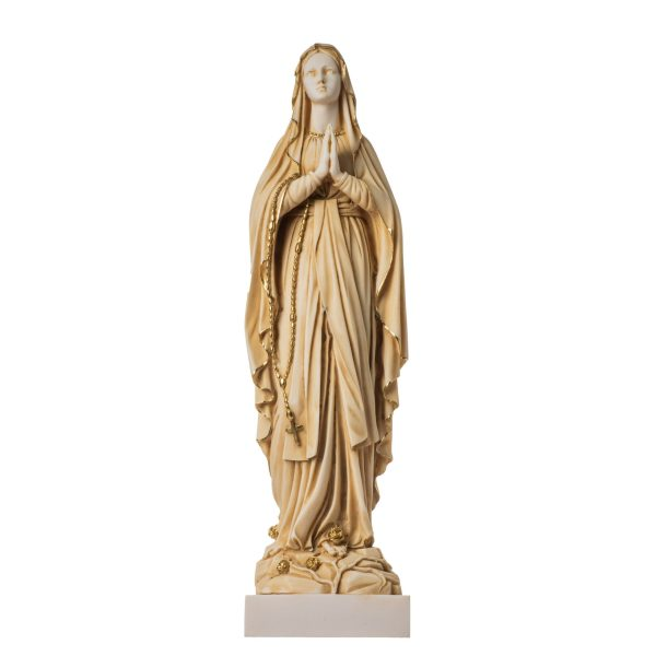 Virgin Mary Mother of Jesus Madonna Statue Alabaster Gold Tone 15.75″