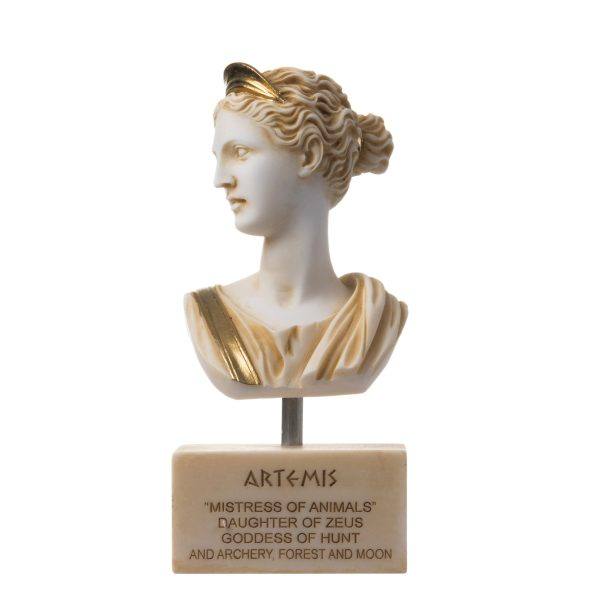 Artemis Diana Bust Greek Statue Nature Moon Goddess Gold Tone Alabaster 7.67″