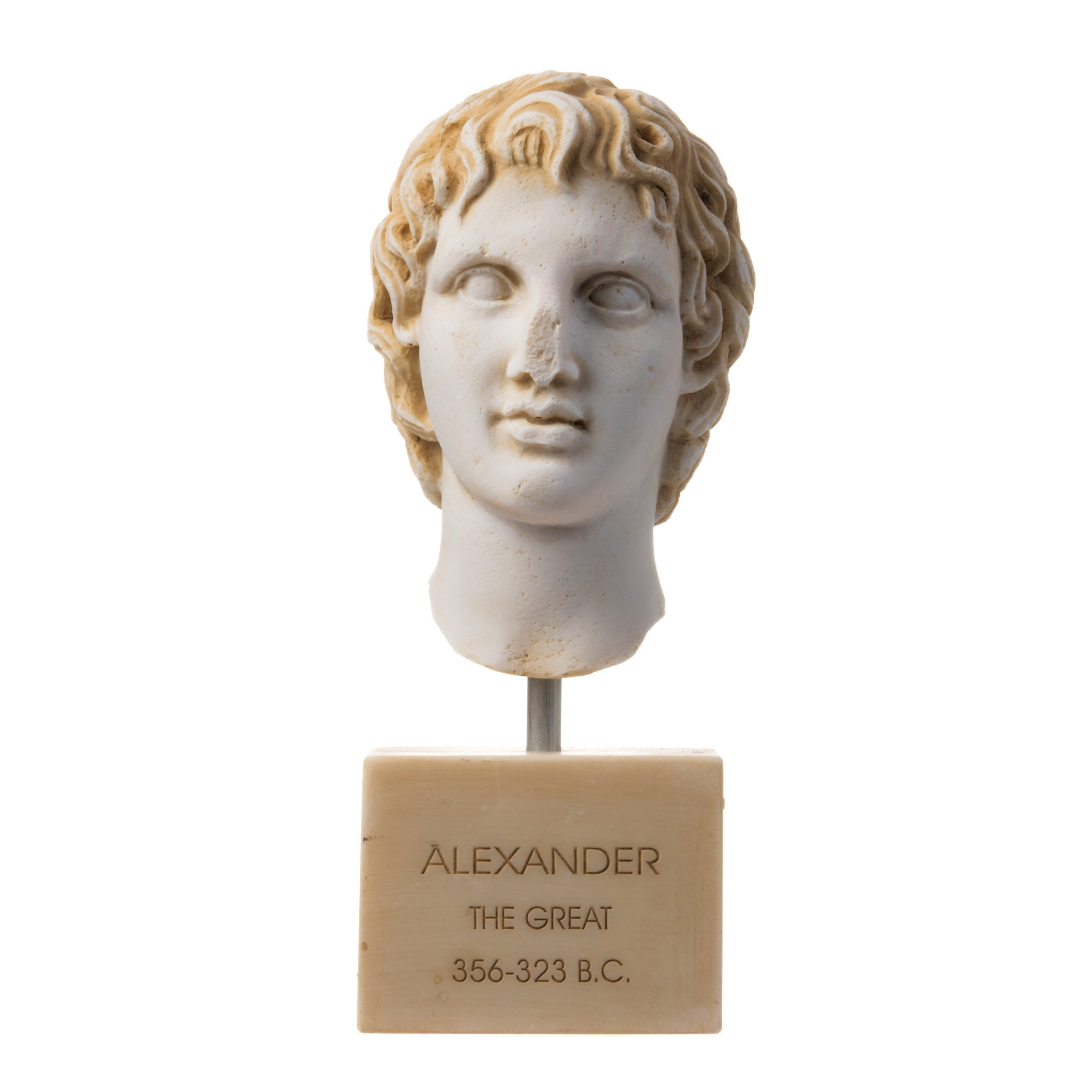 """Alexander The Great of Macedonia Gold Tone Bust Greek Statue Figure 8.66"""""""