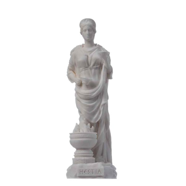 Hestia Goddess of the hearth, home family, and the state Alabaster Statue 6.69″