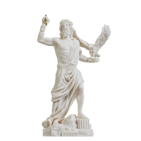 Zeus Greek God Jupiter Thunder Statue Figurine Alabaster 9.25″