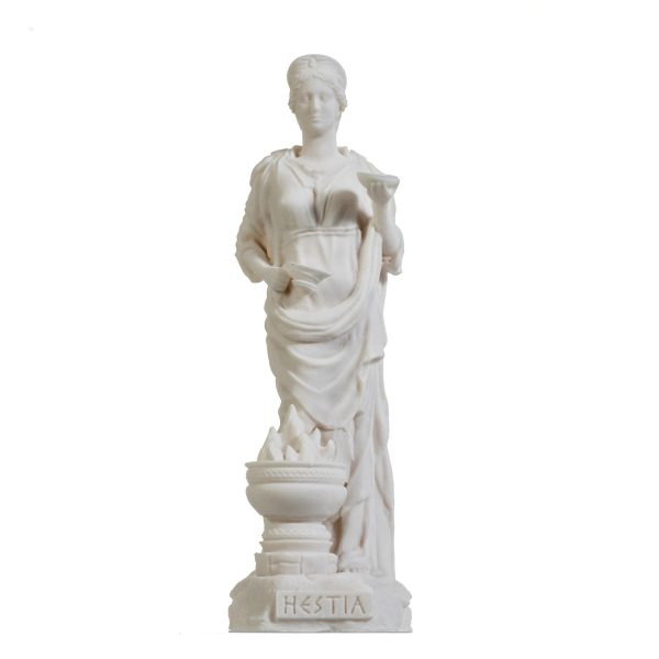 Hestia Goddess of the hearth, home family, and the state Alabaster Statue 8.66″