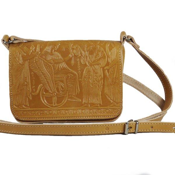 Embossed Leather Shoulder Bag Handmade Pyrography Design Natural Beige Ancient Greek Representation Cross Body Saddle Handbag