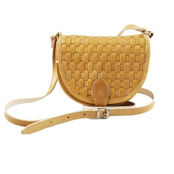Woven Leather Shoulder Bag Natural Beige Handmade Cross Body Braided Stitch Saddle Handbag