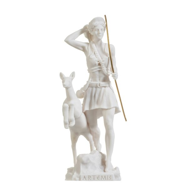 Goddess Artemis Diana Greek Statue Nature Moon Alabaster 8.85″
