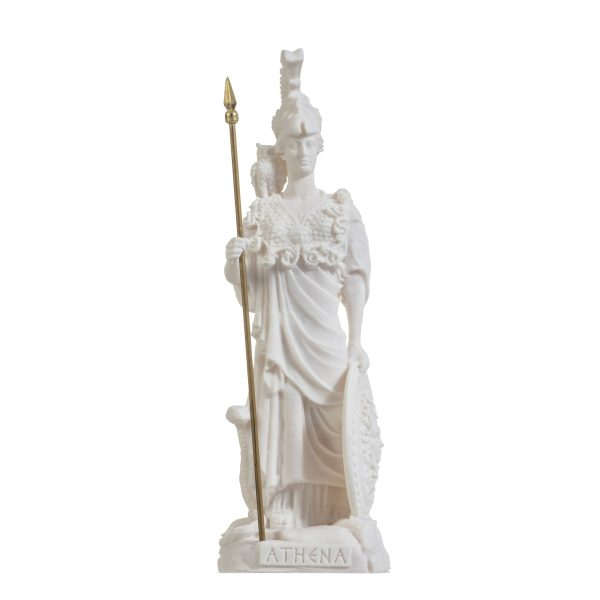 Athena With Owl Medusa Shield Goddess of wisdom, handicraft, and war Alabaster Statue 10.2″