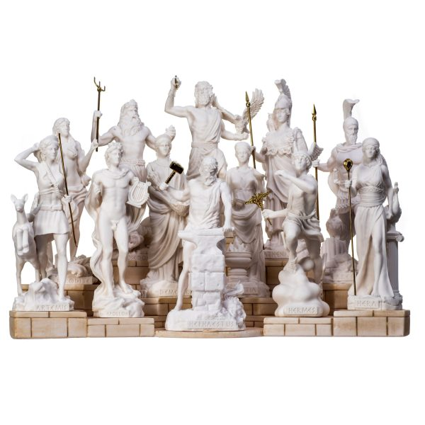Set All The 12 Olympian Gods of Mount Olympus Alabaster Includes Base