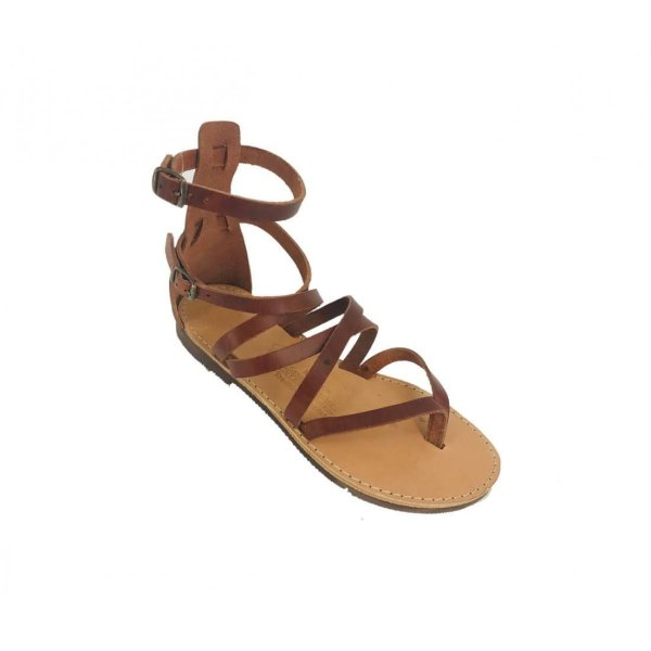 Brown Ancient Greek Style Leather Sandals Roman Handmade Womens Shoes Toe Ring Spartan Summer Strappy Slip-on Slide Flat