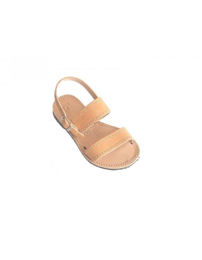 Ancient Greek Style Leather Sandals Roman Natural Beige Handmade Kids Girls Shoes Toe Ring Spartan Summer Strappy Slide Children Flat