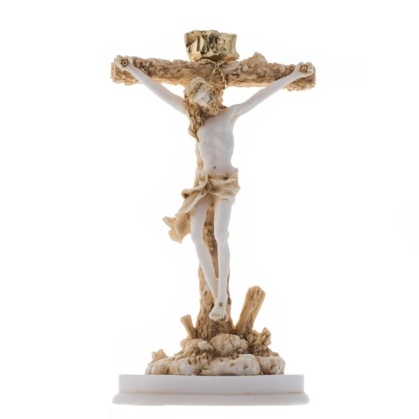 Jesus Christ of Nazareth Son of God Messiah Crucifix Christian Statue Alabaster Gold Tone 9.05""