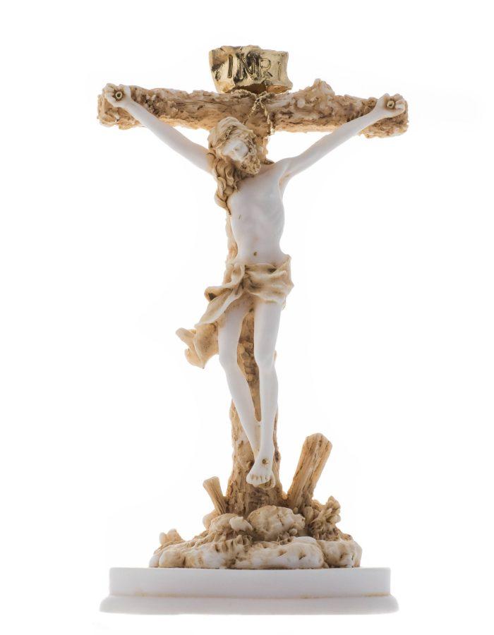"Jesus Christ of Nazareth Son of God Messiah Crucifix Christian Statue Alabaster Gold Tone 9.05"""