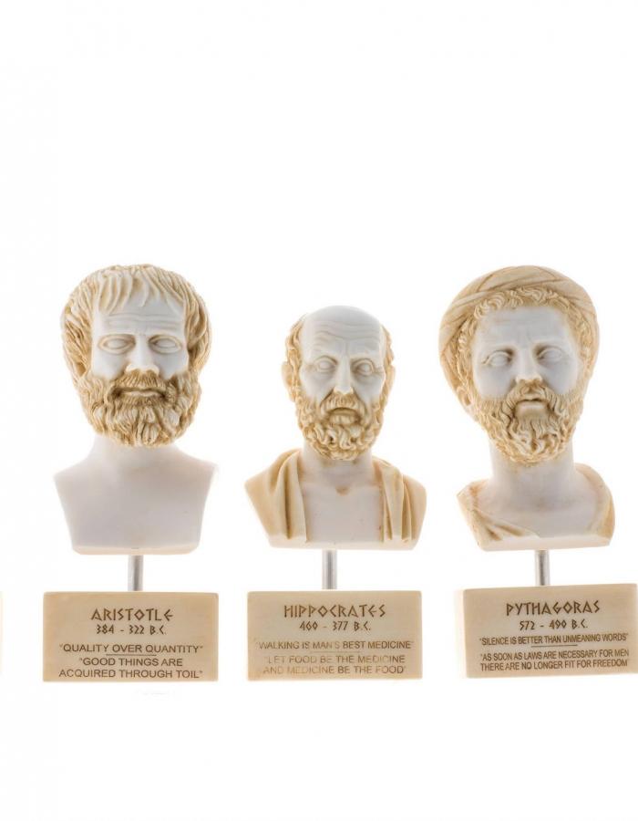 Set of Greek Philosophers Busts Socrates Aristotle Hippocrates Pythagoras Plato Alabaster Statues Gold Tone Marble Base