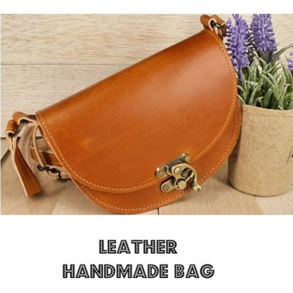 Leather Shoulder Bag Natural Tan Beige Vintage Brown Handmade Cross Body Saddle Vintage Handbag