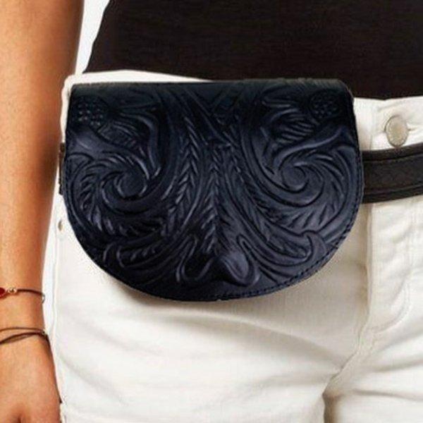 Waist Bag Embossed Leather Belt bag Shoulder Bag Vintage Brown Black Handmade Pyrography Floral Design Cross Body Saddle Vintage Handbag