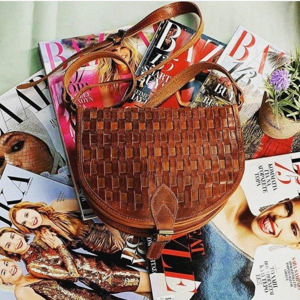 Woven Leather Shoulder Bag Vintage Brown Handmade Cross Body Braided Stitch Saddle Handbag