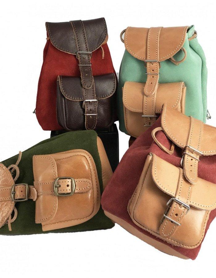 Small Leather Backpack Satchel Rucksack Vintage Knapsack Messenger Bag Men Women Girls Brown Black Beige handbag