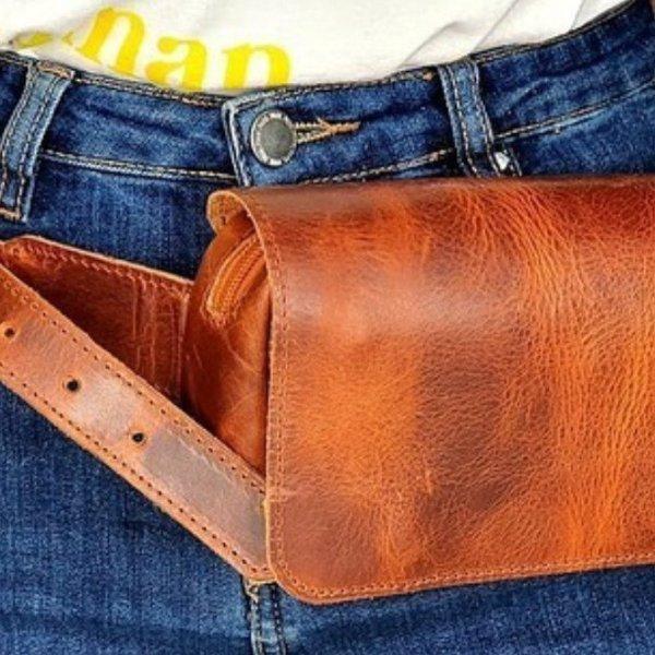 Waist Bag Leather Chest Fanny Pack Bag Shoulder Bag Vintage Brown Black Handmade Cross Body Saddle Vintage Handbag Casual Fashion