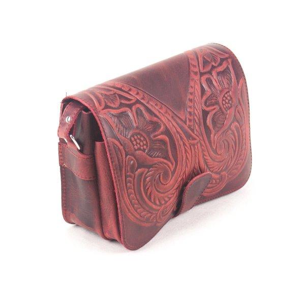 Embossed Leather Shoulder Bag Handmade Floral Pyrography Design Beige Brown Black Cross Body Satchel Vintage Saddle Handbag Purse  M