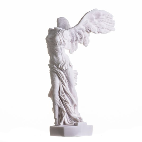 Winged Nike Victory of Samothrace Statue Alabaster Ancient Ruins Louvre Museum Figurine 13.8 Inches