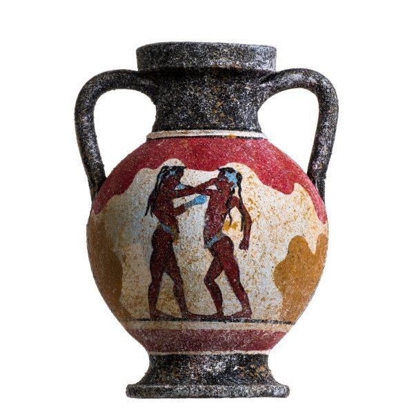 Ancient Greek Minoan Amphora Akrotiri Boxer Fresco Handmade Ceramic Pottery Vase Small