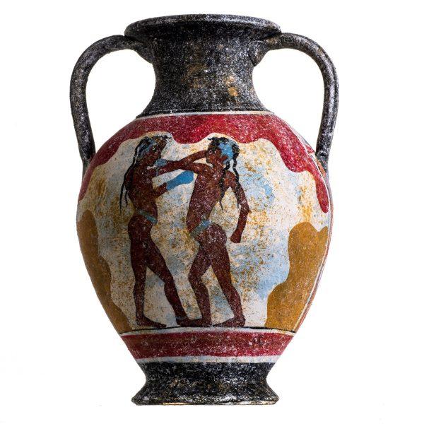 Ancient Greek Minoan Amphora Akrotiri Boxer Fresco Handmade Ceramic Pottery Vase Large