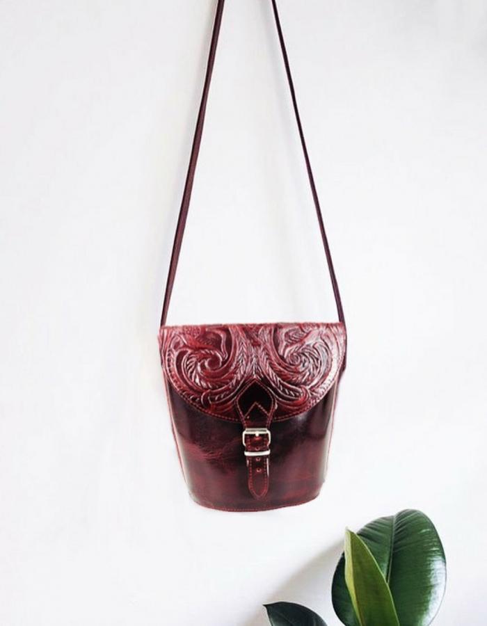 Embossed Leather Shoulder Bag Natural Tan Brown Handmade Pyrography Floral Design Cross Body Saddle Vintage Burgundy Black Handbag Purse L