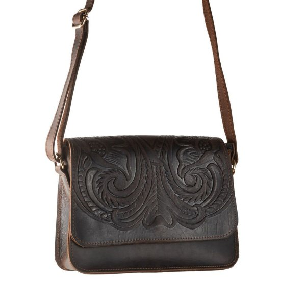 Embossed Leather Shoulder Bag Handmade Floral Pyrography Design Natural Beige Black Brown Cross Body Satchel Vintage Saddle Handbag Purse