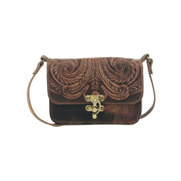 Embossed Leather Shoulder Bag Handmade Floral Pyrography Design Natural Beige Brown Black Burgundy Cross Body Satchel Vintage Saddle Handbag