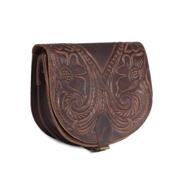 Embossed Leather Shoulder Bag Handmade Floral Pyrography Design Natural Black Dark Vintage Brown Cross Body Satchel Saddle Handbag Purse L