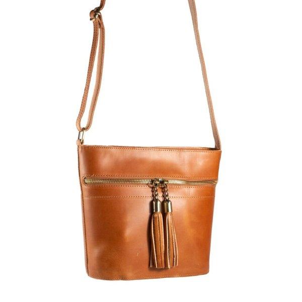 Leather Shoulder Bag Handmade Design Natural Tan Beige Brown Black Cross Body Satchel Vintage Saddle Handbag Purse Tassel Zipper