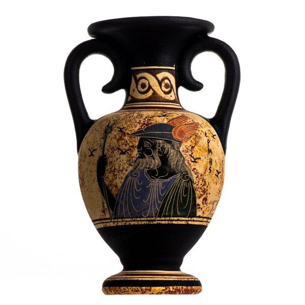 Ancient Greek Minoan Amphora Hermes Handmade Pottery Vase Ceramic