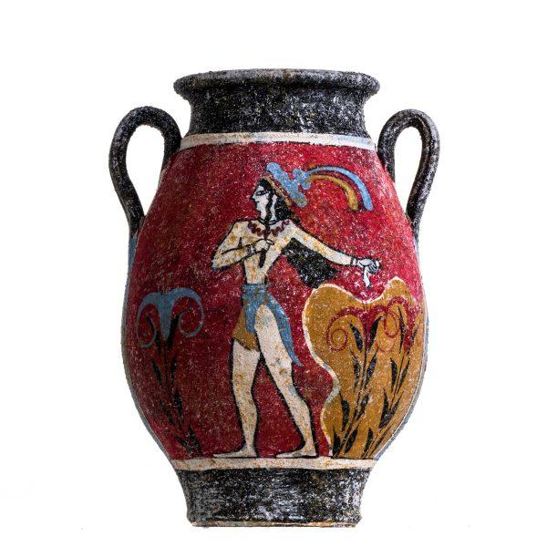 Ancient Greek Minoan Amphora Fresco Prince Of Lilies Mural Handmade Ceramic Pottery Vase Small