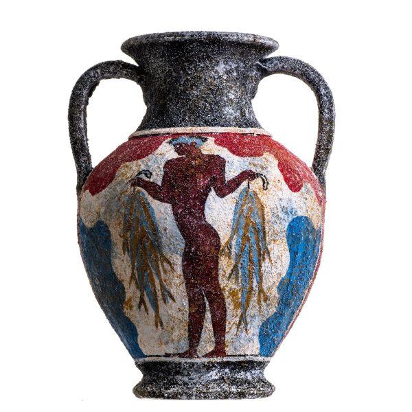 Ancient Greek Minoan Amphora Fisherman Handmade Ceramic Pottery Vase Medium