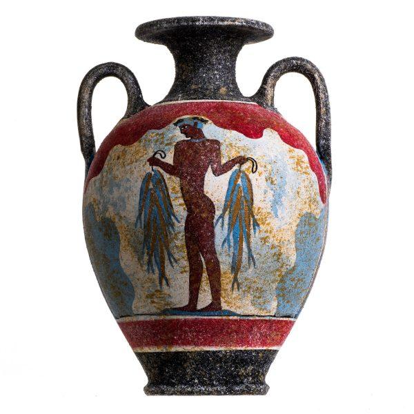 Ancient Greek Minoan Amphora Fisherman Handmade Ceramic Pottery Vase Large